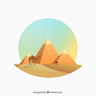 Egiziano illustrazione piramidi in stile gradiente