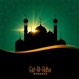 Eid al adha bellissimo sfondo con il design della moschea
