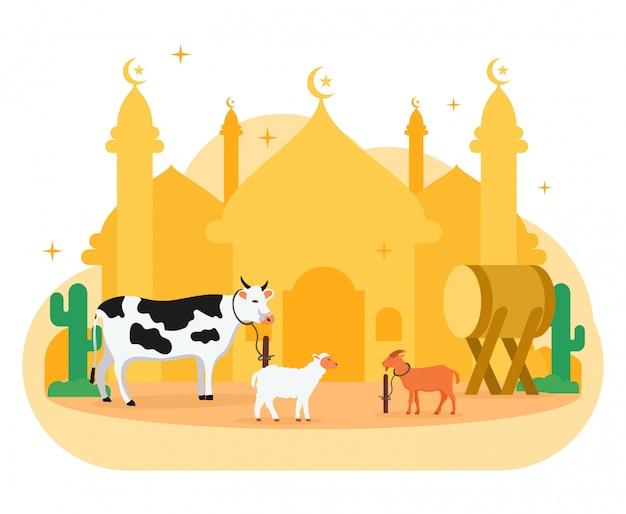 Eid al adha illustrazione piatto eid