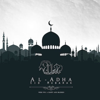 Eid al adha mubarak design di sfondo con la moschea