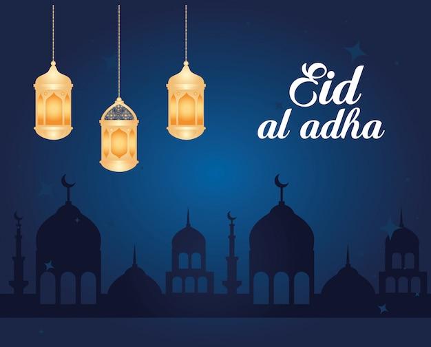 Eid al adha mubarak, felice festa del sacrificio, con lanterne appese e silhouette arabia città illustrazione design