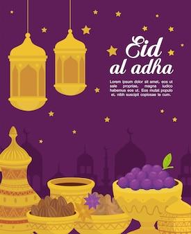 Eid al adha mubarak, felice festa del sacrificio, con tradizioni di vasi di ceramica