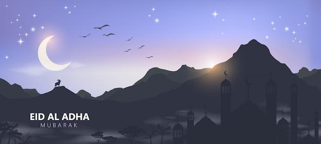 Eid al adha mubarak la celebrazione della festa della comunità musulmana sfondo paesaggio arabo.