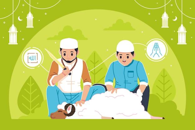 Eid al adha sfondo design piatto illustrazione
