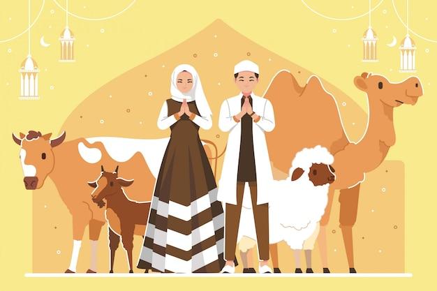 Eid al adha sfondo di illustrazione