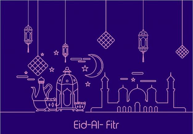 Eid al fitr in stile mono linea ornamento sfondo