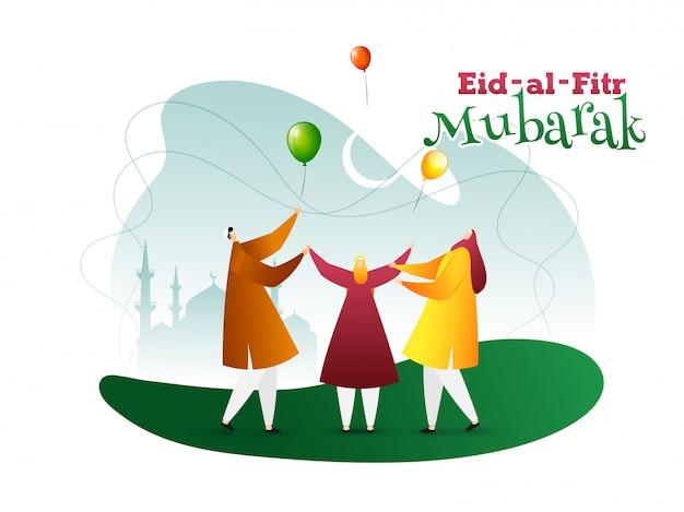Eid al-fitr mubarak illustrazione di uomini arabi davanti alla moschea