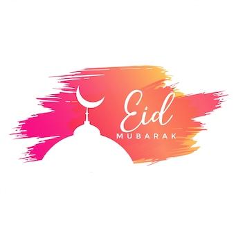 Eid design di mubarak con tratti ad acquerelli