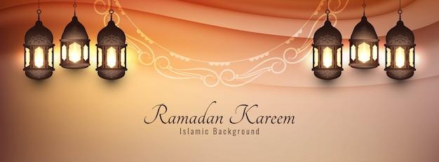 Eid mubarak banner decorativo con lanterne