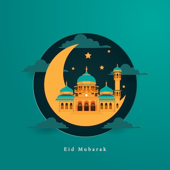Eid mubarak card greeting with mosque with paper art style