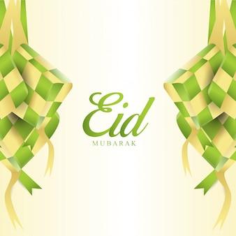 Eid mubarak con il design islamico ketupat