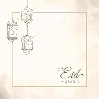 Eid mubarak con l'illustrazione della lanterna per la cartolina d'auguri