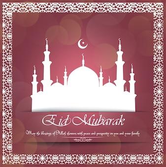 Eid mubarak con ornamento decorativo della moschea bianca