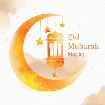 Eid mubarak dell'acquerello della luna e della lanterna di pendenza arancione