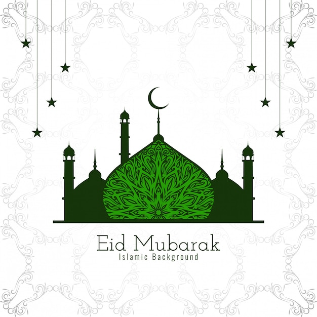 Eid mubarak design islamico con bella moschea verde