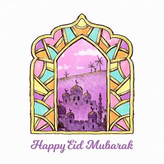 Eid mubarak disegnato a mano del vetro macchiato arabo