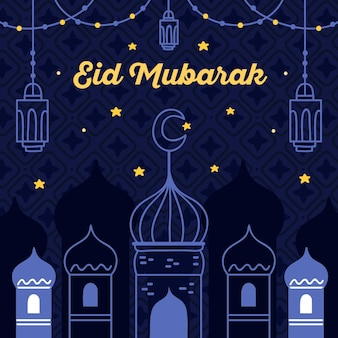 Eid mubarak disegnato a mano di notte stellata