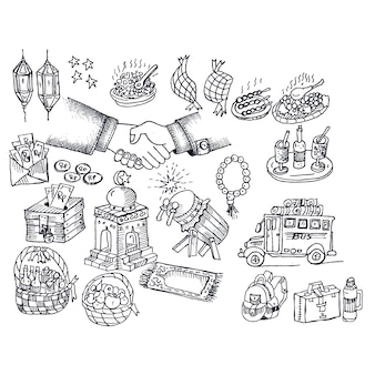 Eid mubarak, doodle vector
