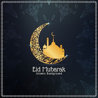 Eid mubarak islamico con la luna dorata