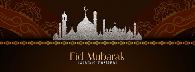 Eid mubarak religiosa bella bandiera islamica