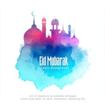 Eid mubarak sfondo islamico con moschea colorata