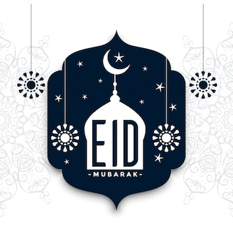 Eid mubarak stile decorativo saluto sfondo