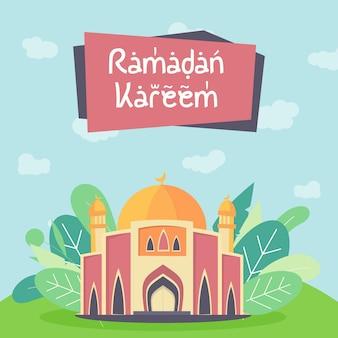 Eid mubarok con l'illustrazione della moschea, cartolina d'auguri islamica del modello