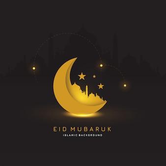 Eid mubaruk banner design. sfondo islamico. illustrazione
