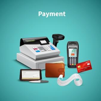 Elaborazione dei pagamenti sul portafoglio terminale pos con composizione realistica del registratore di cassa denaro su turchese