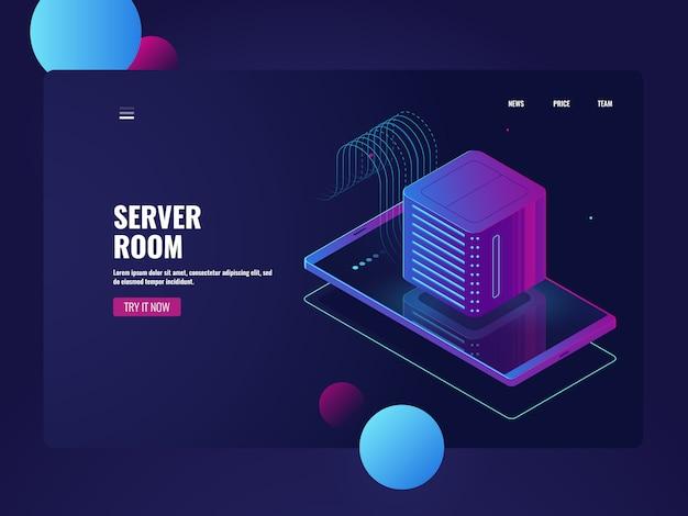 Elaborazione di big data, cellulare con icona di server room, database