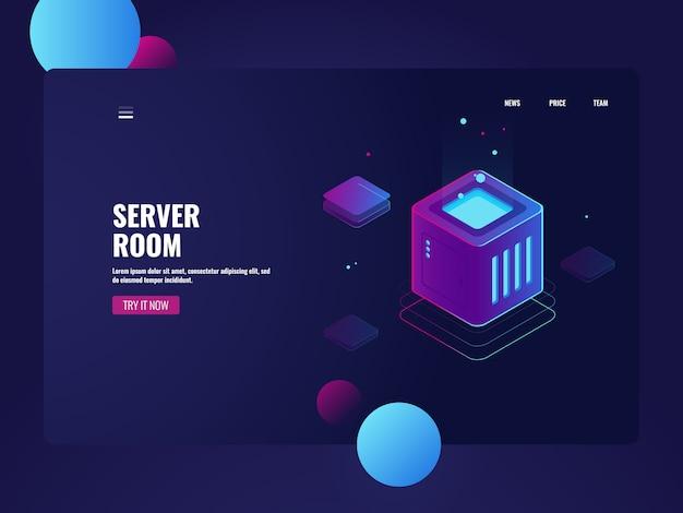 Elaborazione di big data, data center per server room, servizio di archiviazione cloud, connessione al database