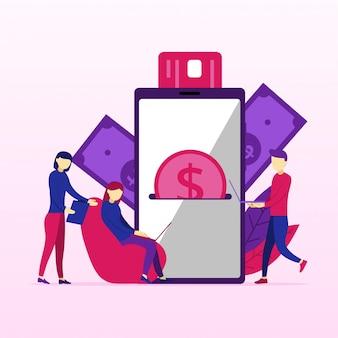 Elaborazione di pagamenti di mobile banking dalla carta di credito sullo schermo