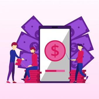 Elaborazione di pagamenti di mobile banking sullo schermo