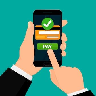Elaborazione di pagamenti wireless. carta di credito sullo schermo dello smartphone. transazione di denaro. illustrazione su sfondo bianco.