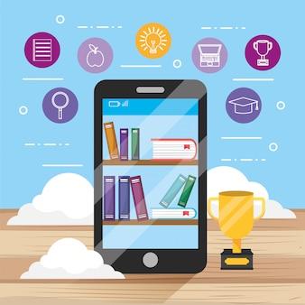 Elearning tecnologia smartphone con libri di educazione