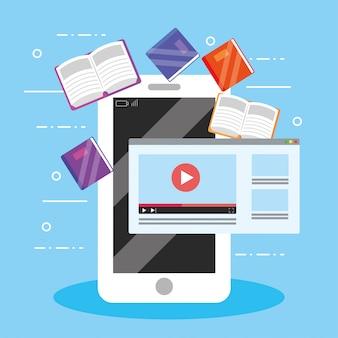 Elearning tecnologia smartphone con libri digitali