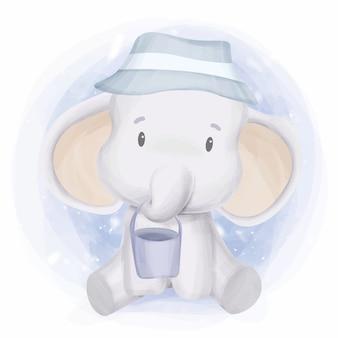 Elefante animale del fumetto sveglio che gioca secchio