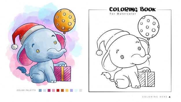 Elefante carino con regalo di natale indossare il cappello di babbo natale, illustrazione di cartone animato per libro da colorare ad acquerello