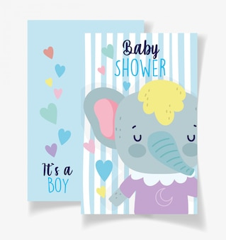 Elefante carino è una carta di baby shower per bambino