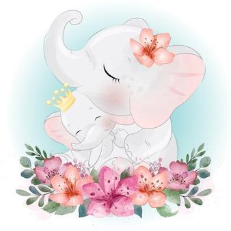 Elefante carino madre e bambino