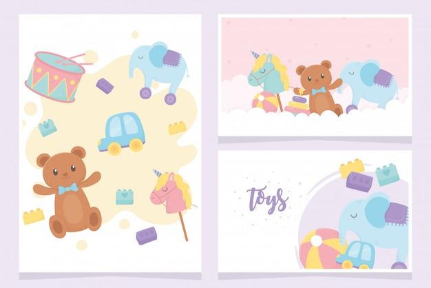 Elefante cavallo bastone auto tamburo blocchi carte cartoni animati giocattoli per bambini