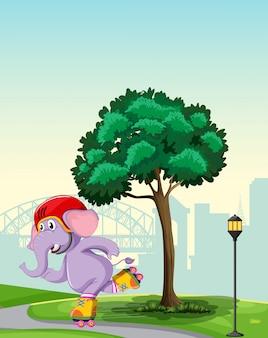 Elefante che gioca a roller skate nel parco