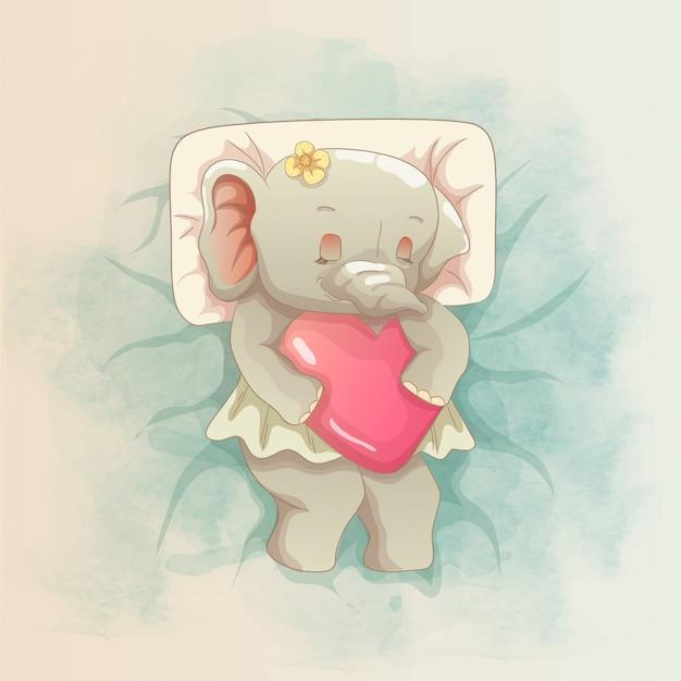 Elefante che tiene un cuore nel cielo.
