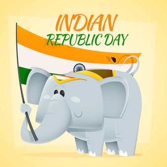 Elefante che tiene una bandiera indiana