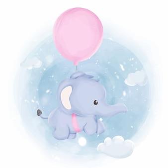 Elefante del bambino che vola in cielo