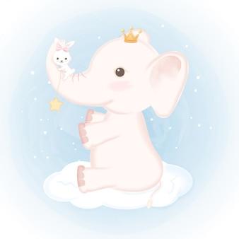 Elefante del bambino con coniglio sull'illustrazione della nuvola