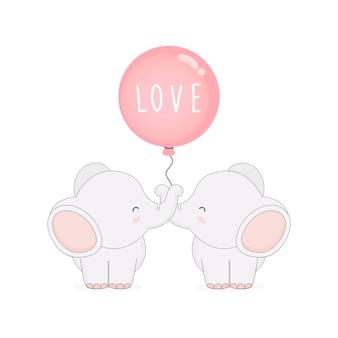 Elefante di coppia carina con palloncini. carta di san valentino.
