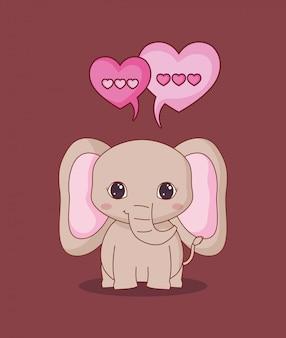 Elefante e amore kawaii