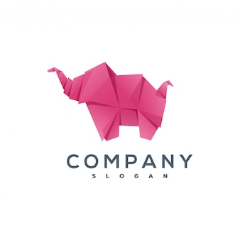 Elefante logo stile origami