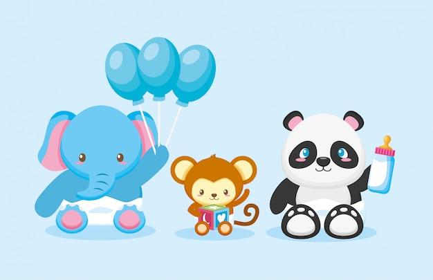 Elefante, panda e scimmia con palloncini per la carta di baby shower